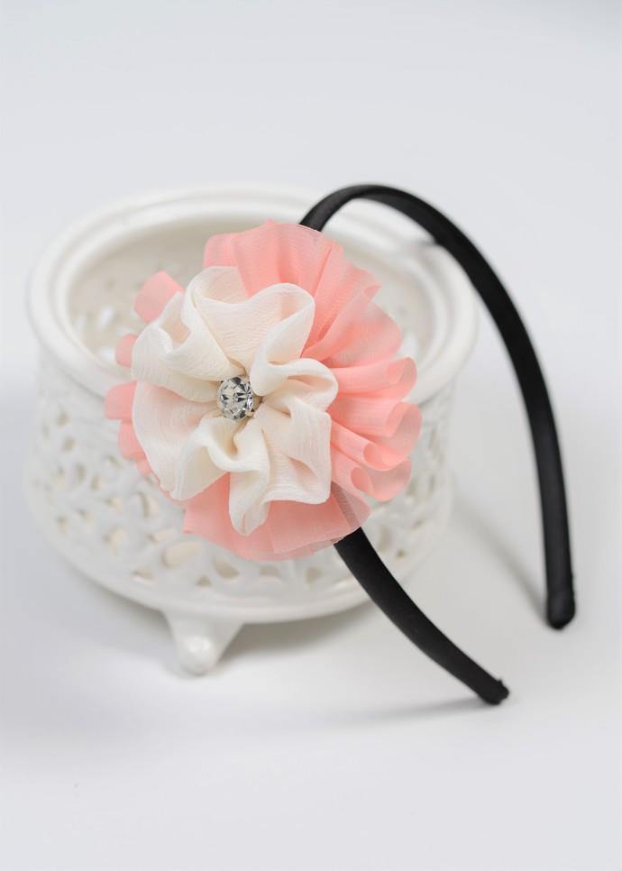 Hard Headband - Soft Peach and Cream Chiffon Flower