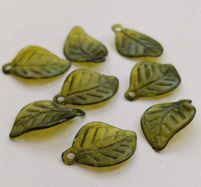 Lucite Leaves, Thin Wavy Leaf Charm, Deep Olive Watercolor 10 pc
