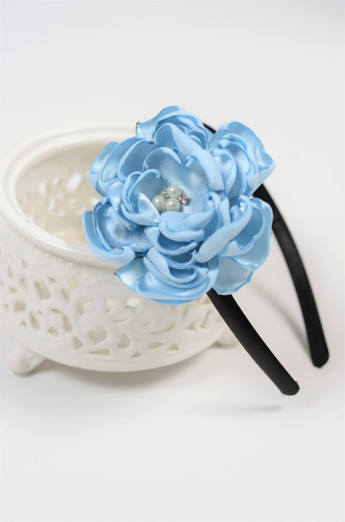 Hard Headband - Light Carolina Blue Satin Flower