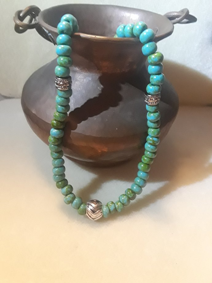 Blue Green Seed Bead Necklace - 18 inch
