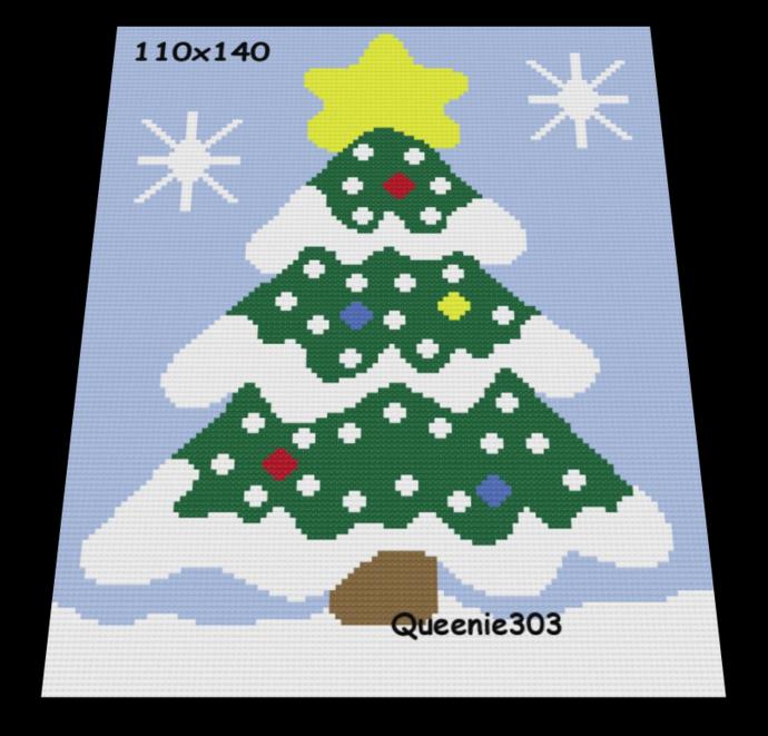 Snowy Christmas Tree 110x140