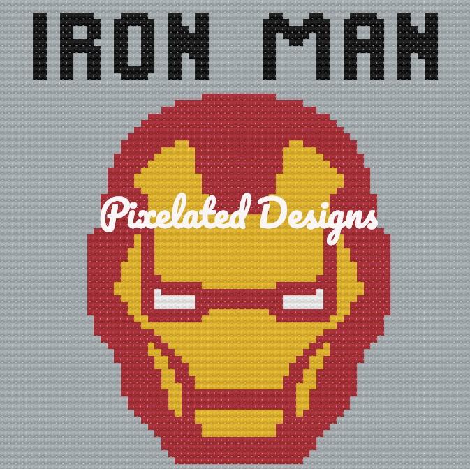 Iron Man Large Throw Pillow Pattern - SC - 70x70 - Graph w/Written