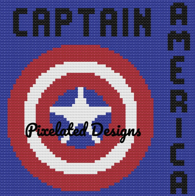 Captain America Large Throw Pillow Pattern - SC - 70x70 - Graph w/Written