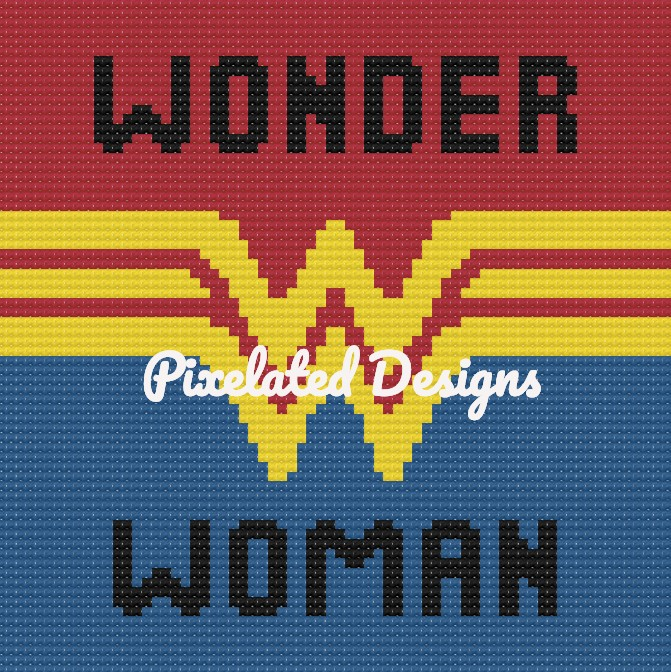 Wonder Woman Large Throw Pillow Pattern - SC - 70x70 - Graph w/Written