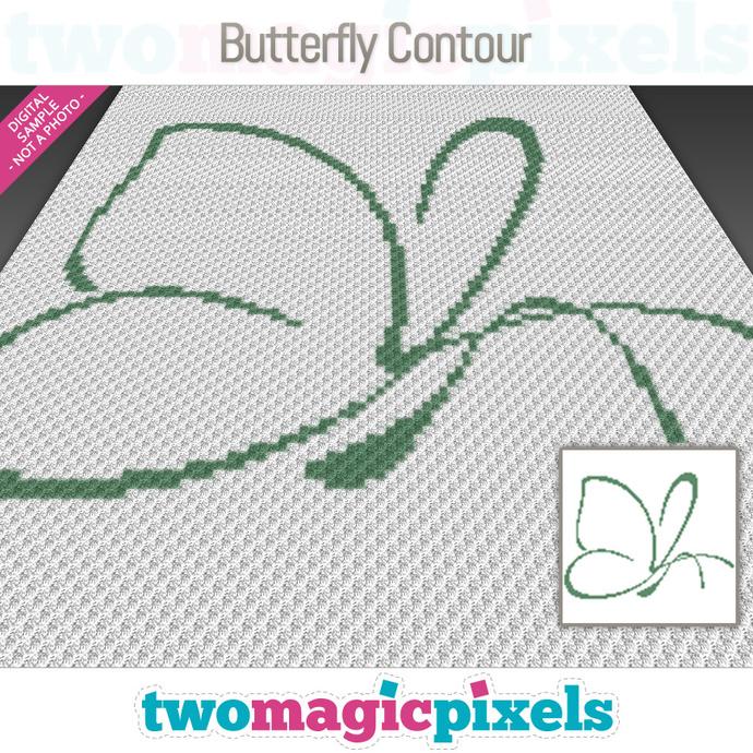 Butterfly Contour crochet graph (C2C, Mini C2C, SC, HDC, DC, TSS), cross stitch;