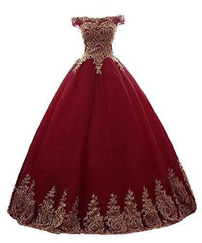 Beautiful Burgundy Off Shoulder Tulle Ball Dress, Charming Formal Gown 2019