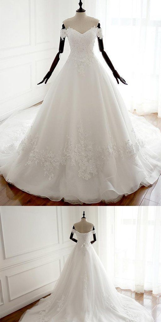 Charming Off Shoulder Appliques Ball Gown Prom Dresses, White Formal Wedding