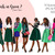 Watercolor fashion illustration clipart - Girls in Green 2 - Dark Skin