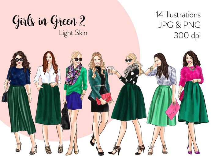 Watercolor fashion illustration clipart - Girls in Green 2 - Light Skin