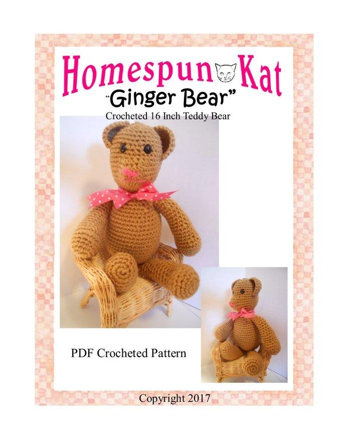 Ginger Bear TeddyBear Crocheted PDF Pattern Instant Download Stuffed Toy