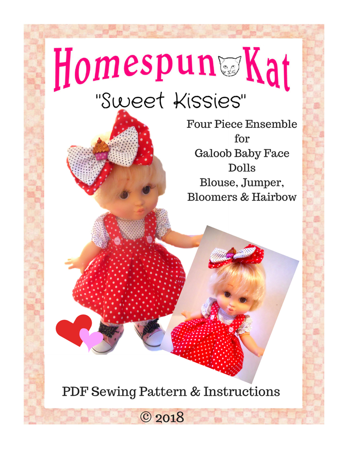 Sweet Kissies 13 Inch Galoob Baby Face Doll Clothing PDF Instant Download Sewing