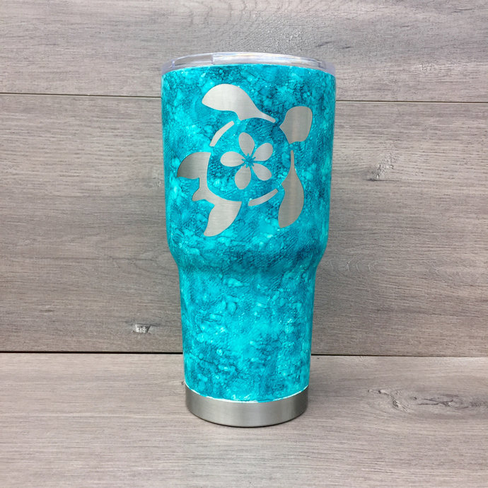 Blue Watercolor Alcohol Ink Sea Turtle HOGG 30 oz. Stainless Steel Tumbler
