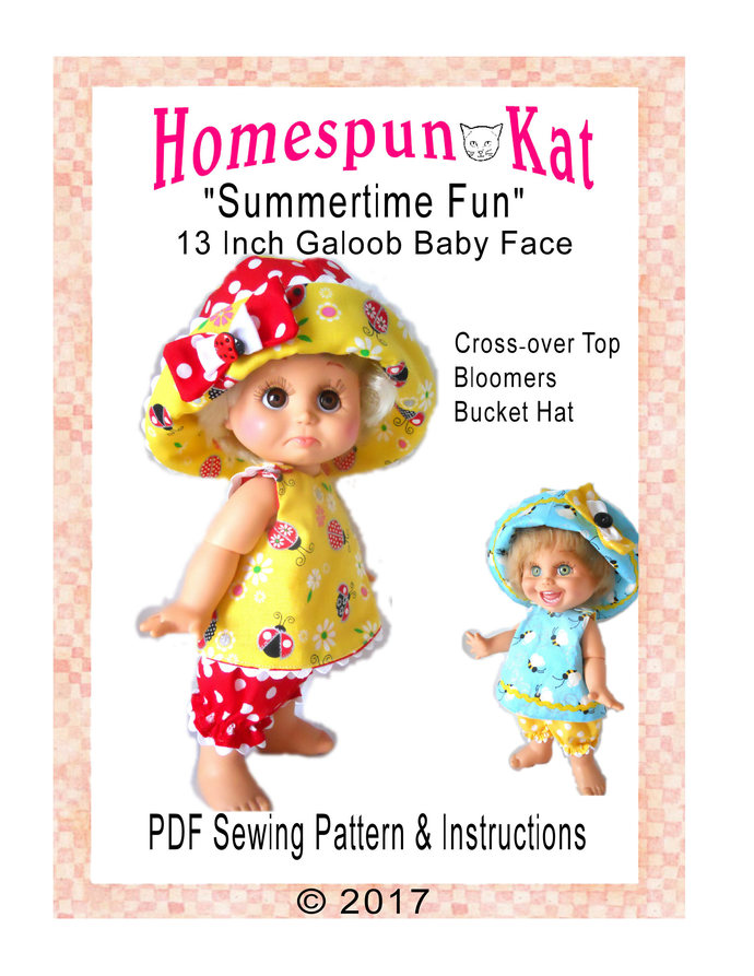 Galoob Baby Face 13 Inch Doll Clothes Summertime Fun Three Piece Set Sewing