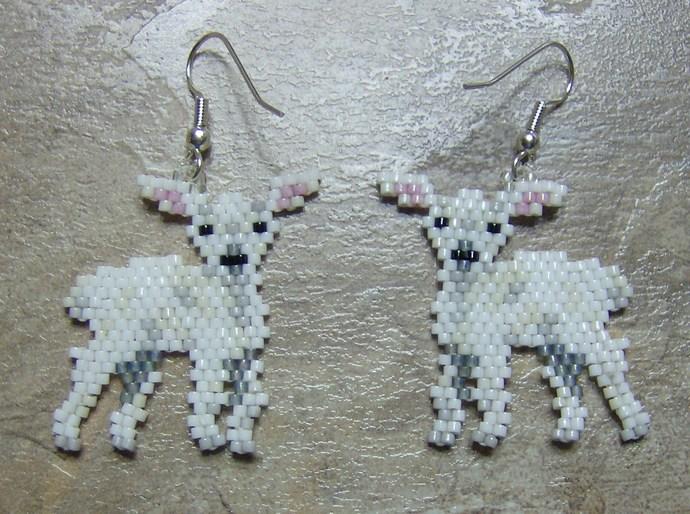 Little Lamb Earrings Hand Made Seed Beaded Bead Work