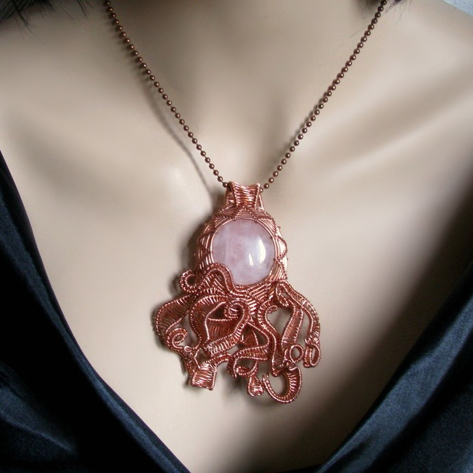 Big wire woven octopus pendant with rose quartz