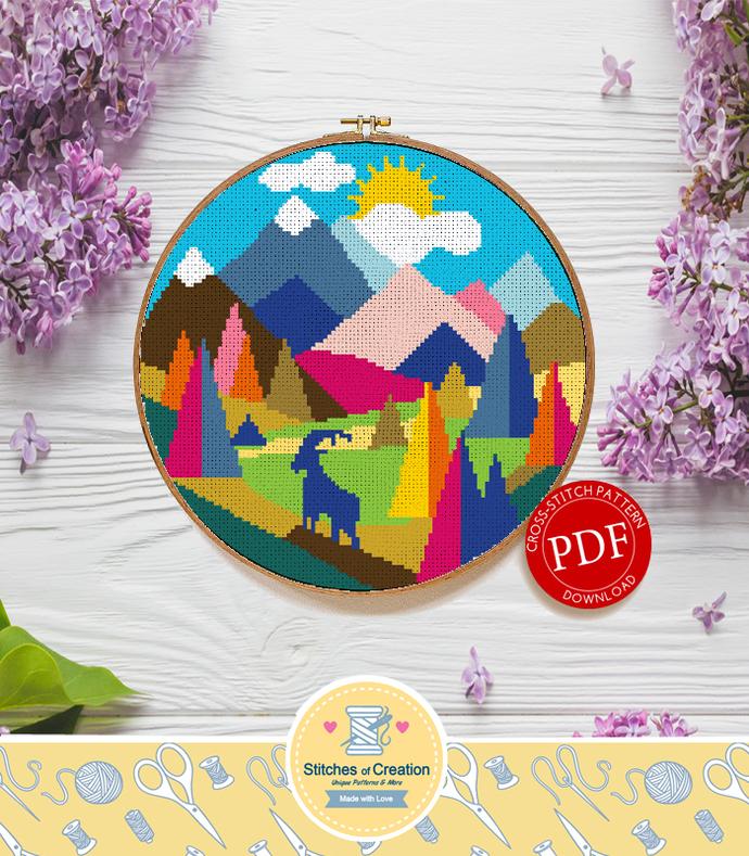 Geometric Alps | Digital Download | Cross Stitch Pattern  |