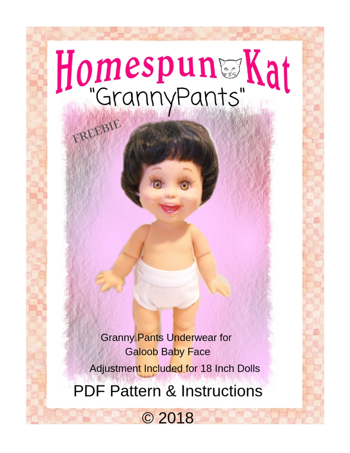 Granny Pants  Underwear for 13 inch and 18 inch dolls FREEBIE PDF Sewing Pattern