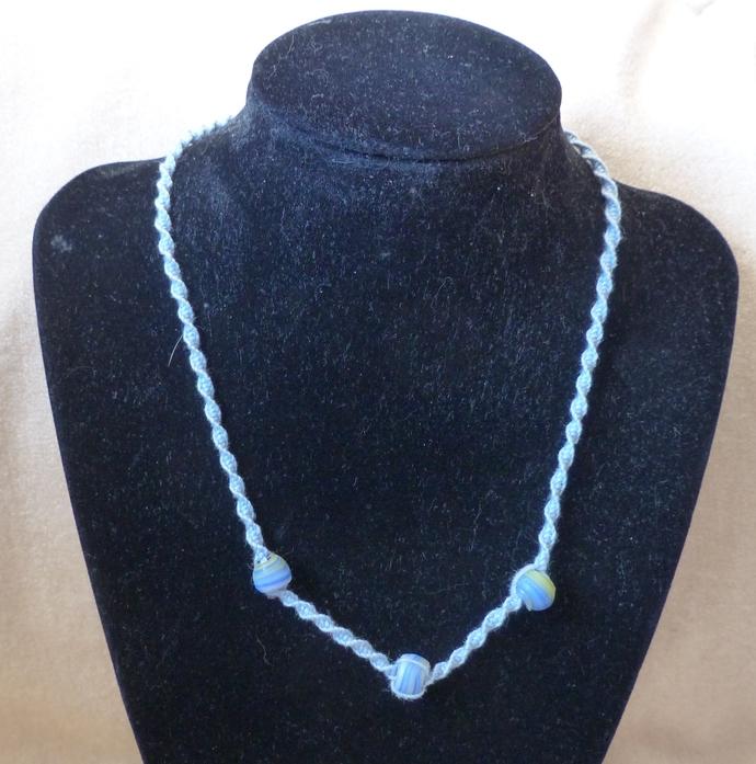 Macrame halfknot choker Macrame necklace Blue striped ceramic beads Gift for