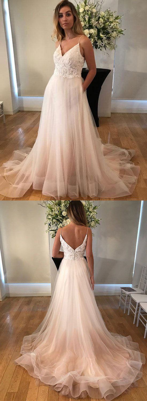 V-Neck Lace Long Prom Dresses ,Spaghetti Straps Evening Dresses ,Tulle evening