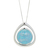 Blue Ice Necklace. new color contains aquamarine, silver, pink on a tear drop