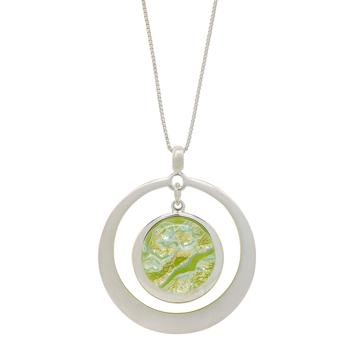 Flowing Green Fused Glass Mounted on a Double Circular Brushed Silver Pendant