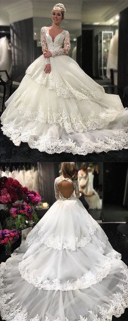 Charming Long Sleeve Appliques Open Back Ball Gown Wedding Dresses