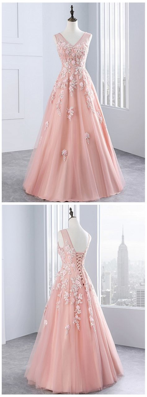 Pink tulle evening dress,sexy ball gowns, custom made ,new fashion, V neck