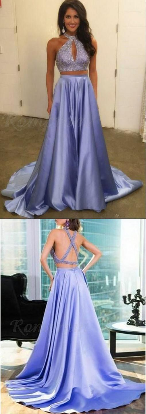 Two Piece evening dress,sexy ball gowns, custom made ,new fashion, Halter
