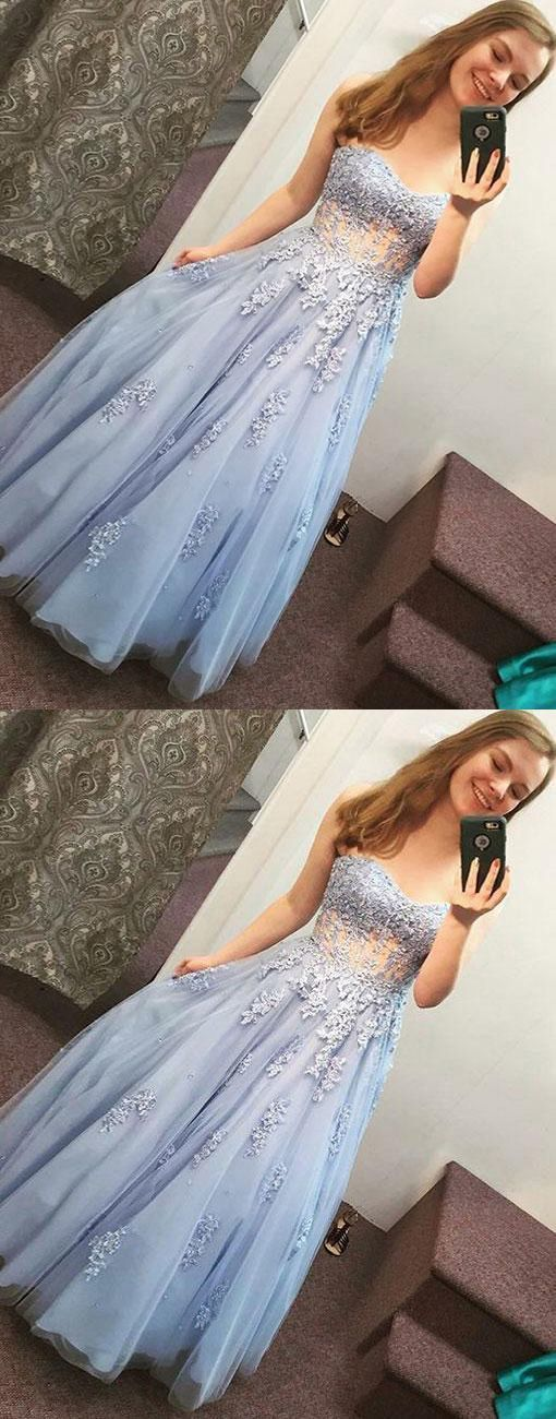 Blue Prom Dresses,Lace Prom Gown,Tulle Prom Dresses,Long Prom Dress,Sweetheart
