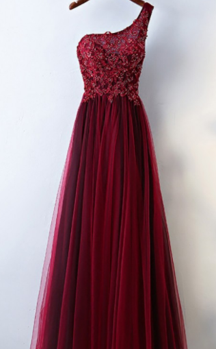 Burgundy evening dress,sexy ball gowns, custom made ,new fashion,One Shoulder