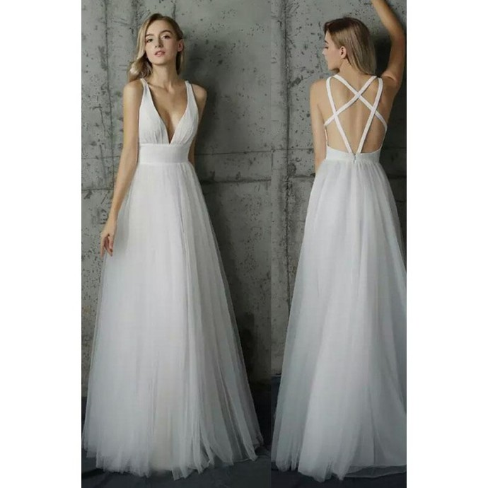 Simply evening gown,V Neck evening dress,sexy ball gowns, White Tulle party