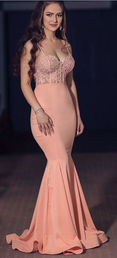 Coral Long Prom Dress,Formal Evening Dresses,Sexy Sweetheart Spaghetti Prom