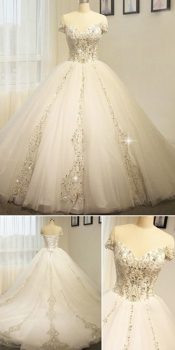 Charming Tulle Appliques Ball Gown Wedding Dresses, Formal Bridal Gowns