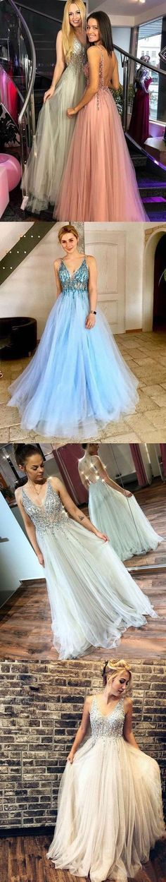 Charming Open Back Tulle Prom Dresses with Beading, Sexy V neck Long Prom Dress