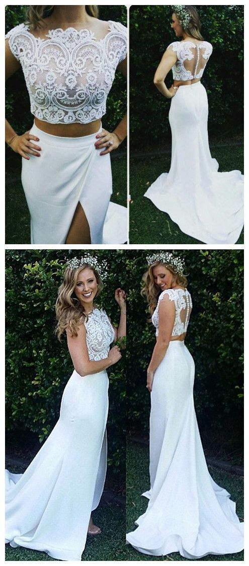 Charming Two Piece Split Slit Lace Prom Dresses, Sexy Long Evening Party Dress