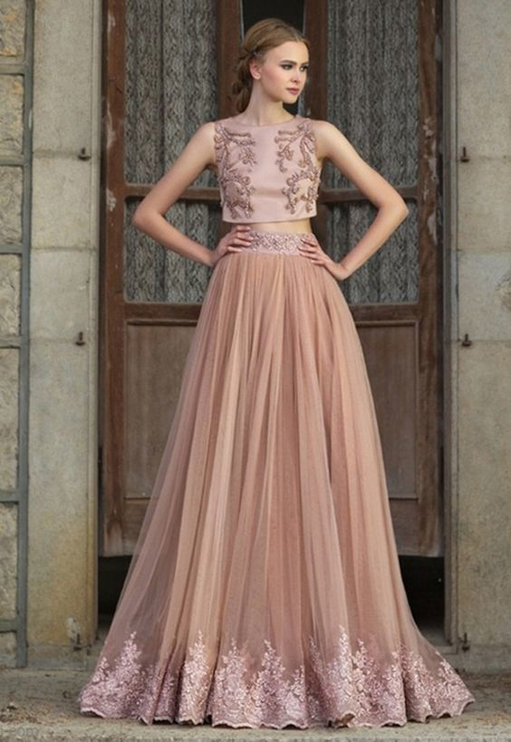 Two Pieces A line Prom Dresses,Evening Dresses,With Sequins Beading Tulle Prom