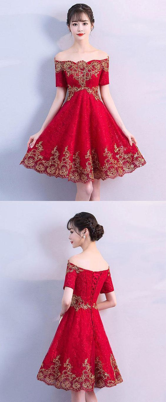 Elegant Short Sleeve Appliques Homecoming Dress, Knee Length Red Prom Dress