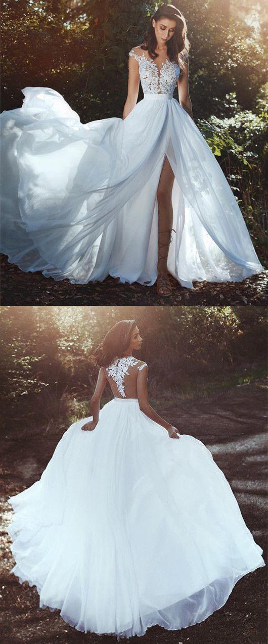 Charming Appliques Split Slit White Prom Dresses, Long Prom Dresses, Evening