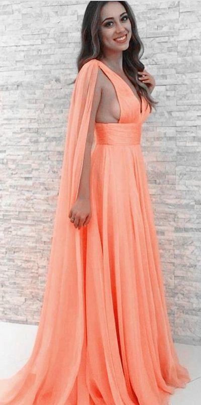 Peach Chiffon Prom Dresses,Sexy Prom Dress, A-line V Neck Peach Evening Dresses
