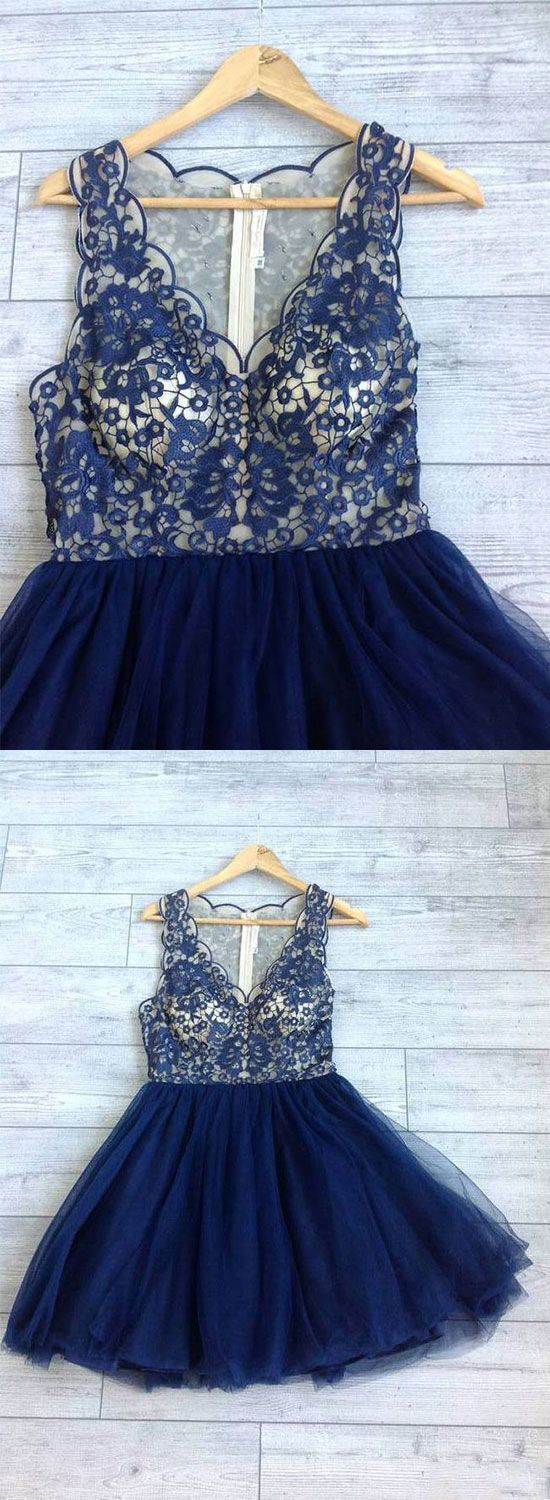 Cute Tulle Lace Homecoming Dress, Navy Blue Short Prom Dress