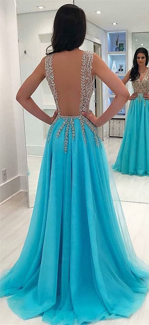 Charming Blue Open Back Tulle Prom Dresses, Sexy Appliques Evening Party Dress