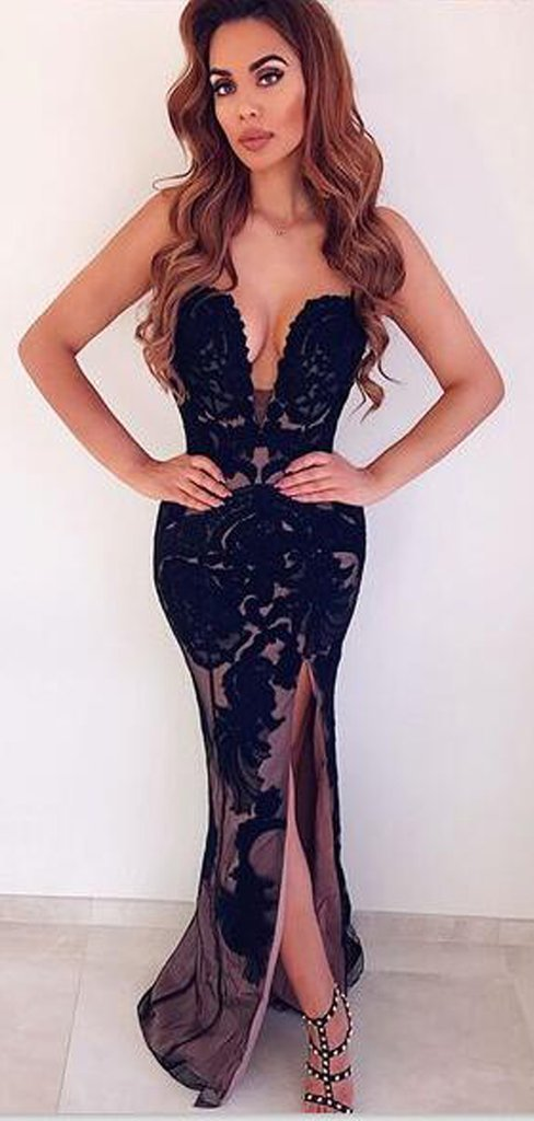 Charming Black Lace Mermaid Prom Dresses, Sexy Split Slit Black Mermaid Evening