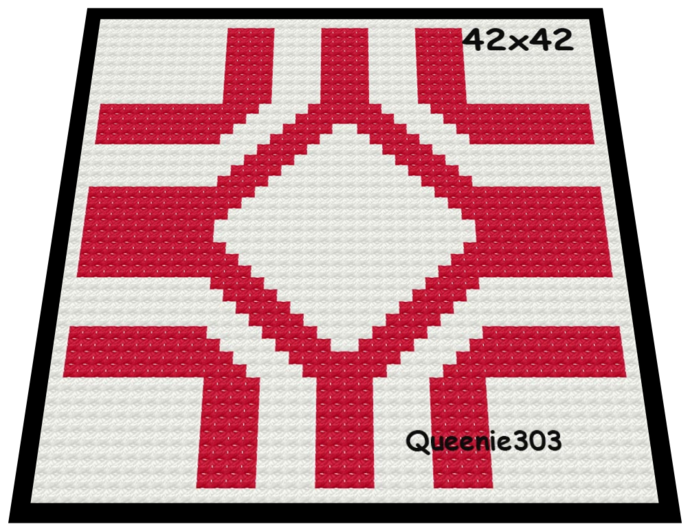 Red White Square 42x42