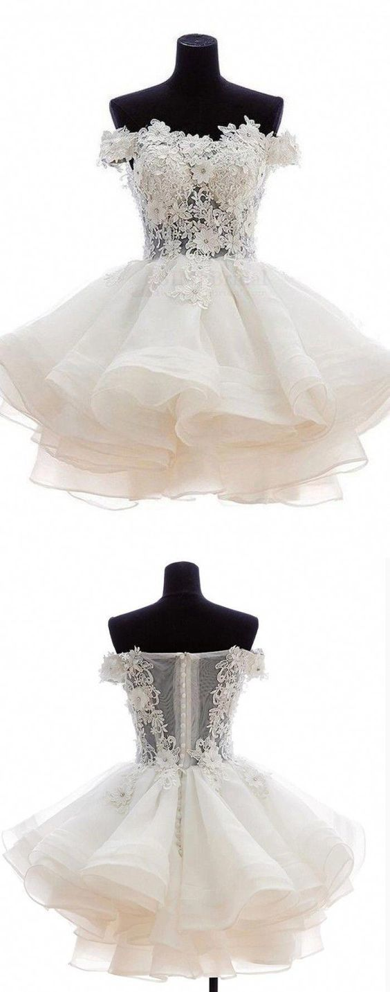 Charming Off Shoulder Tulle Short Prom Dresses, Appliques Ruffles Homecoming