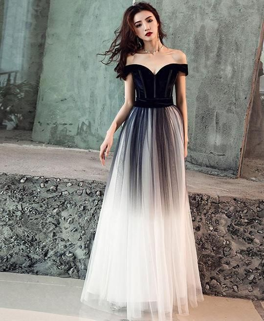 e8f65b007ff0 Charming Prom Dress,Tulle Prom Gown,Off the Shoulder Prom Dress,Gradient  Prom