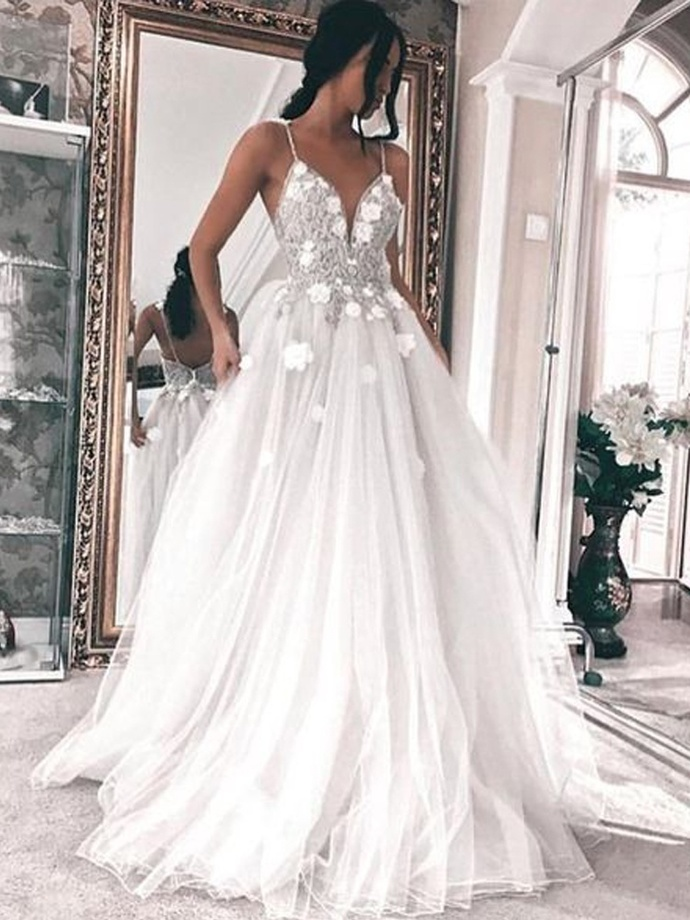 A-Line V Neck Tulle Wedding Dress with Open Back,Formal Dress,Cheap Wedding
