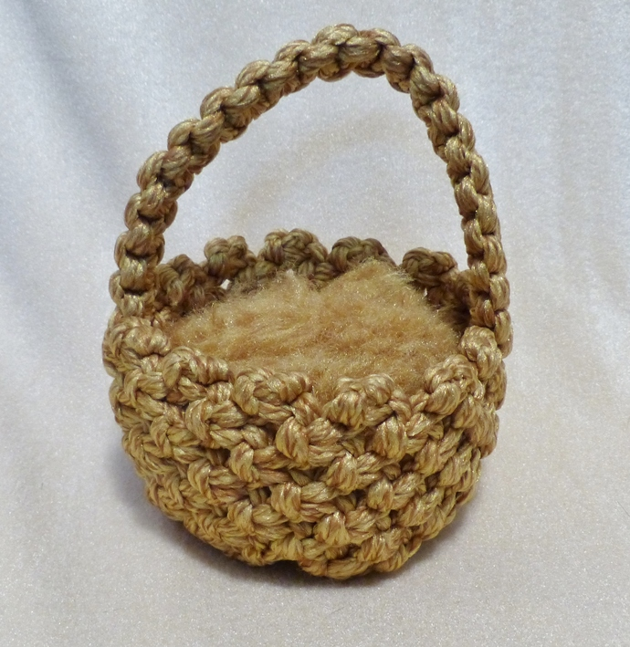 Macrame basket Gold blend yarn basket Gift for child Gift for women Table