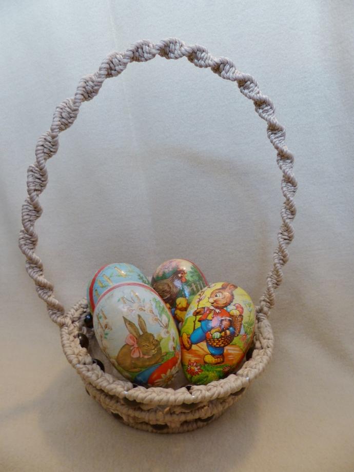 Easter basket Macrame basket Tan basket Holiday decoration Room decoration