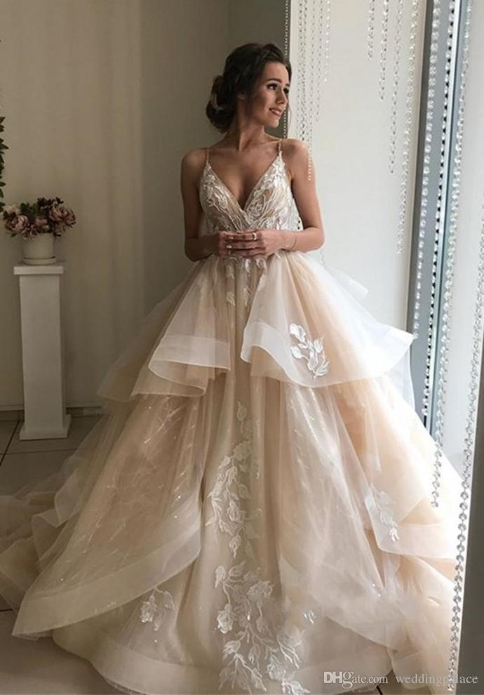 Champagne Spaghetti Long A-line Lace Tulle Wedding Dresses, Formal Dress,Cheap