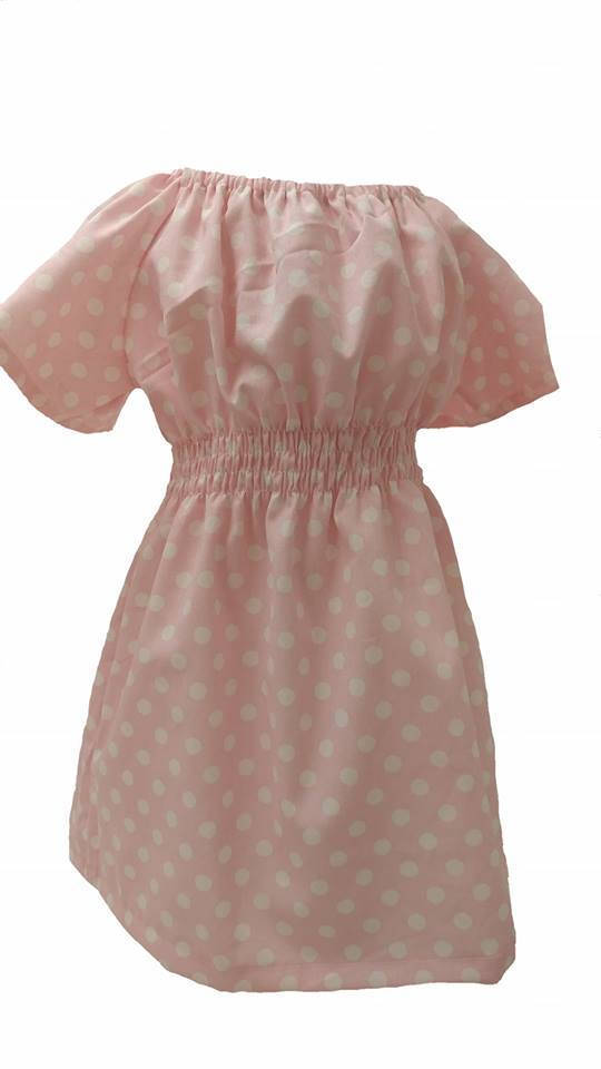 Pink Polka Dot Smocked Dress